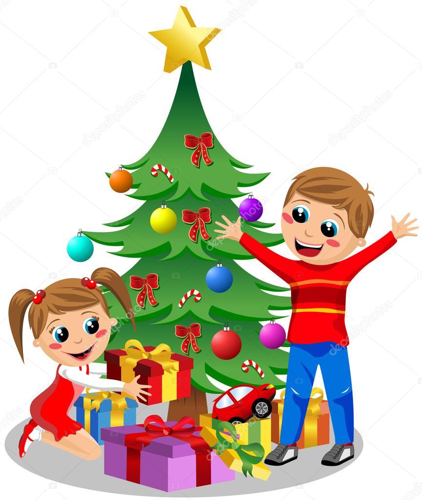 Felices los ni os abriendo regalos de navidad junto al - Dibujos postales navidad ninos ...