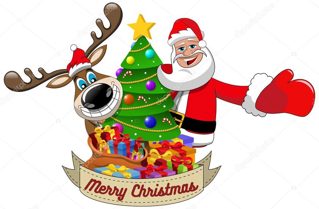 Dibujos Animados Graciosos Renos Y Santa Claus Deseando