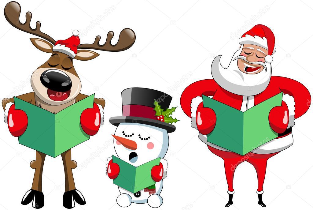 Dibujos Animados De Renos De Santa Claus Y Muñeco De