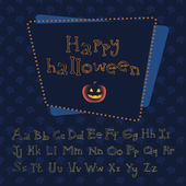 Bones alphabet with evil pumpkin — ストックベクタ