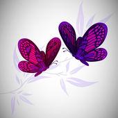 Two flying butterflies. vector illustration — Stock Vector
