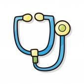 Stethoscope color doodle — Stock Vector