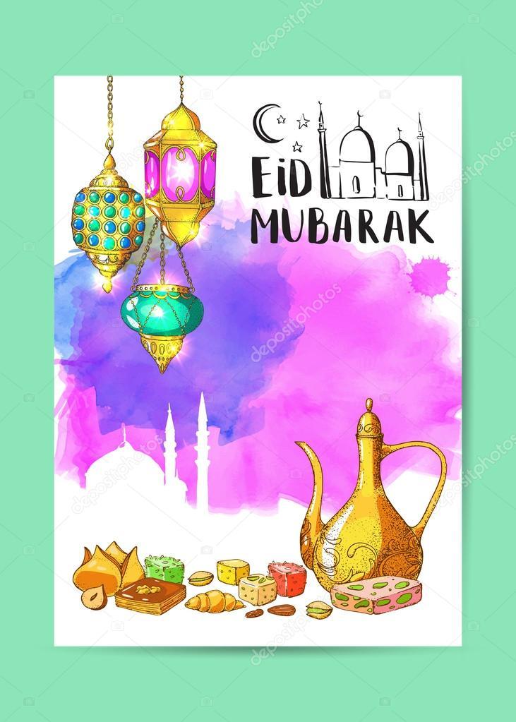 Islamic Colorful Holiday Background Stock Vector Zabavinaula