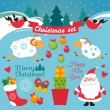 Set of colorful christmas characters and decorations — Stock Vector #80153852