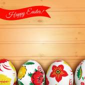 Easter eggs on the wooden texture — Stock Vector