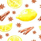 Seamless background with lemon and cinnamon — Stock Vector