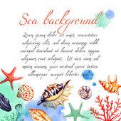 Watercolor sea frame — Stock Vector