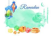 Ramadan Kareem watercolor illustration — Stock Vector