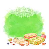 Islamic bakery background. — Stock Vector
