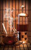 Photo cups of tea with sugar — Stock Photo