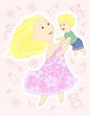 Beautiful young mother in a dress whirls with baby — Stock Vector