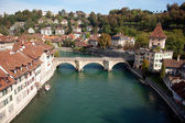 Old buildings, river and bridges in Bern, the capital city of Switzerland — Stock Photo
