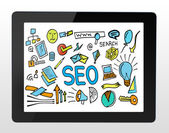 SEO drawing on tablet. — Stock Photo