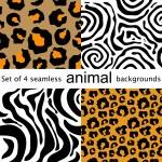 Four animal seamless patterns. Leopard, zebra, tiger, jaguar. — Stock Vector #80274696