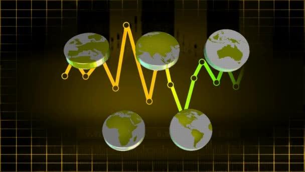 Mundo - iconos - gráficos - amarillo 01 — Vídeo de stock