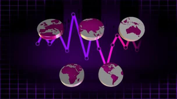 Mundo - iconos - gráficos - 01 morado — Vídeo de stock