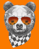 Bear with mirror sunglasses — Stock Photo