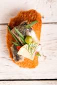 Tasty tapas with tuna and onion — Stock Photo