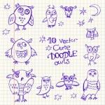 Doodle cute funny owls. — Stok Vektör #80955738