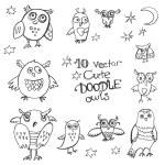 Doodle cute funny owls. — Stok Vektör #80956466