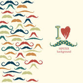 Pattern with colorful mustaches — Stock Vector