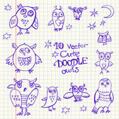 Doodle cute funny owls. — Stock Vector