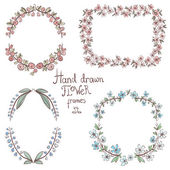 Hand drawn color floral frames — Stock Vector