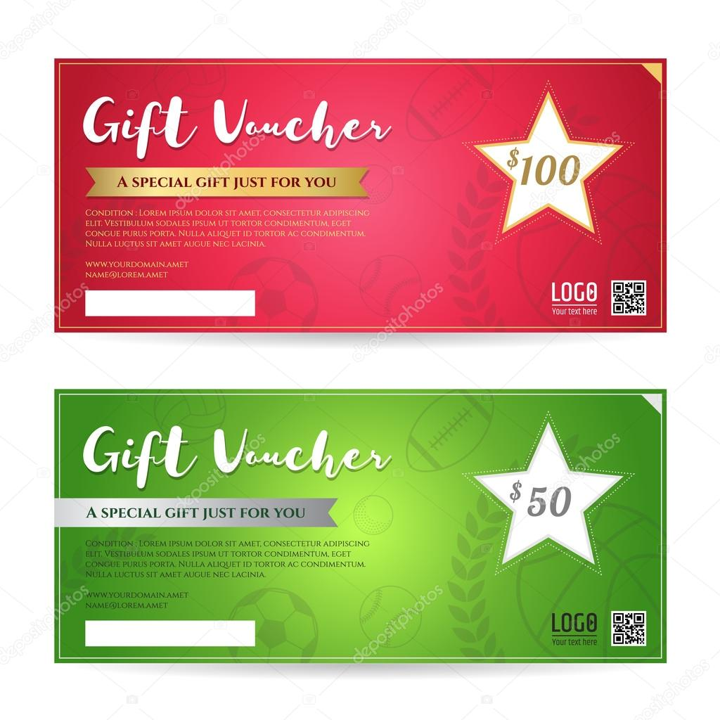 gift voucher or gift certificate template in red and green gift voucher or gift certificate template in red and green background color and sport theme