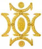 Ornament frame golden stucco decoration elements on white — Stock Photo