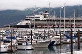Yachts and cruise ship — Stock Photo