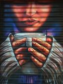 Graffiti of girl with cup of coffee — Stock Photo
