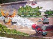 Graffiti of firefighter, Kiev — Stock Photo