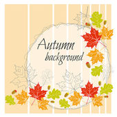Beautiful autumn background with leaves and acorns — Stock Vector