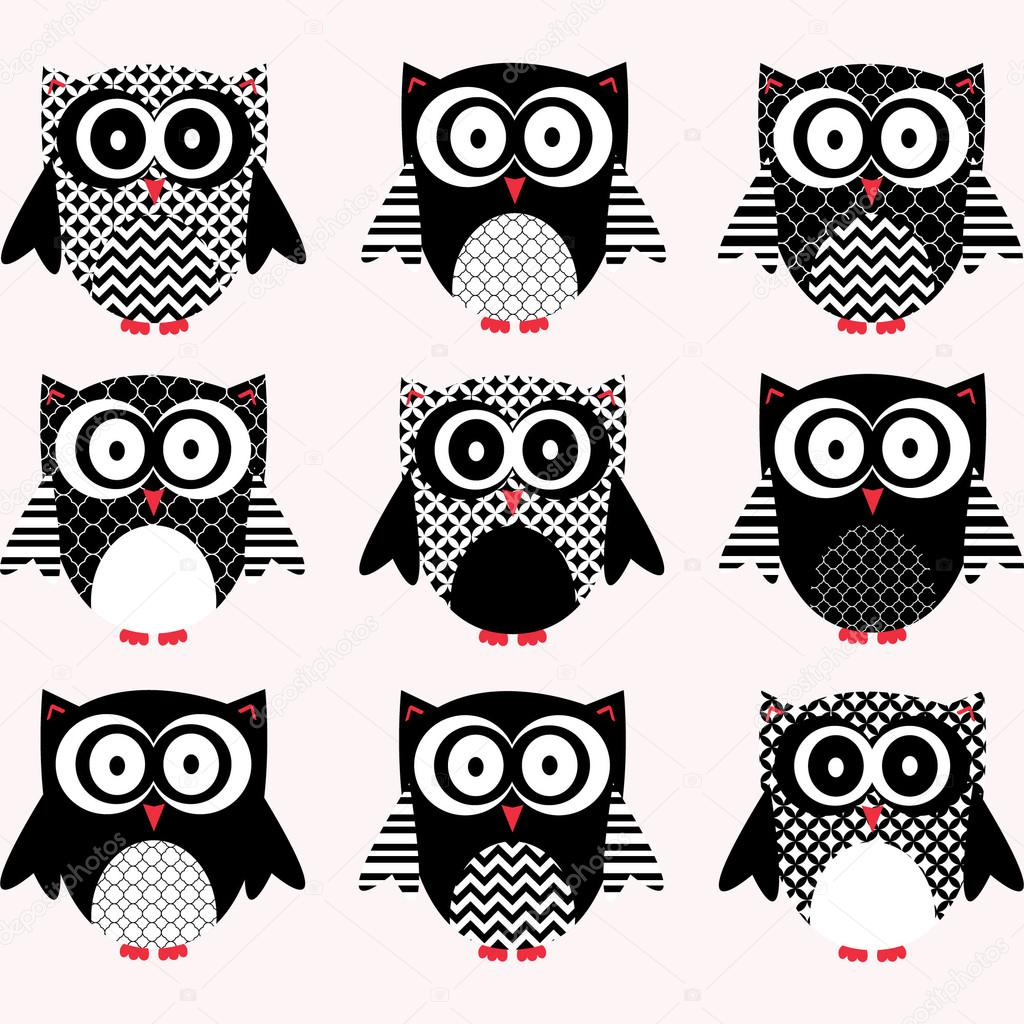 black and white cute owl collections � stock vector