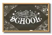 School chalkboard with back to school text and whit different educational elements on blackboard — Stock Vector