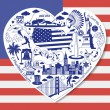 USA Love. Isolated set with american vector icons and symbols in form of heart — Stock Vector #81550792