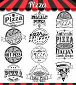 Collection of vector pizza signs, symbols and icons. Vector pizza badges stickers and labels food set. — Stock Vector