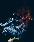 Candle smoke in darkness — Stock Photo