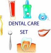 Dental care colour  set, clip art — Stock Vector