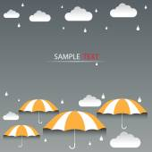 Umbrella orange and rain background vector — Stock Photo