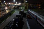 Järnvägsstationen på natten — Stockfoto