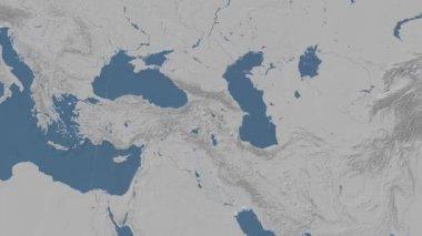 Armenia outlined and glowed. Neighbourhood. Elevation — Stock Video