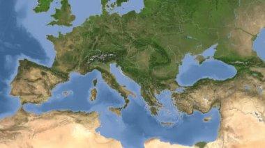 Bosnia And Herzegovina outlined and glowed. Neighbourhood. Satellite — Stock Video