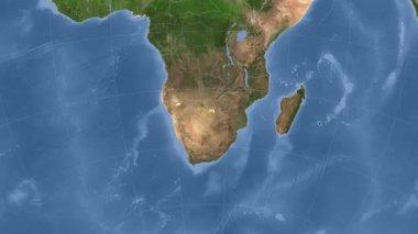 Botswana outlined and glowed. Neighbourhood. Satellite — Stock Video