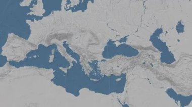 Bulgaria outlined and glowed. Neighbourhood. Elevation — Stock Video