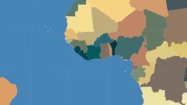 Costa d'Avorio delineato e brillava. Quartiere. Amministrativo — Video Stock