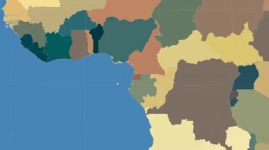 Equatorial Guinea outlined and glowed. Neighbourhood. Administrative — Stock Video