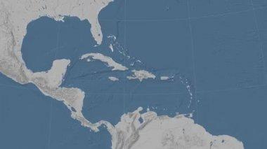Haiti outlined and glowed. Neighbourhood. Elevation — Stock Video