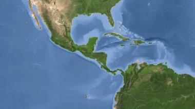 Honduras outlined and glowed. Neighbourhood. Satellite — Stock Video