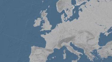 Belgium outlined and glowed. Neighbourhood. Elevation — Stock Video